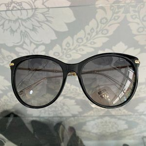 GUCCI / ITALY Black Framed Sunglasses w/ Gold Metal Wire Bamboo Arms